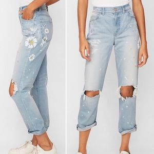 NWOT Express Floral High Rise Girlfriend Jeans